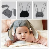 adorable rabbits - Kids INS Knitted Hats Baby Winter Beanie Toddler Crochet Hats Infant Adorable Rabbit Long Ear Hat Baby Bunny Beanie Caps Photo Props B1447