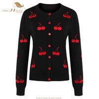 Vente en gros- SISHION Noir Cerise Femmes Imprimer Cardigan Chandail Tricoté Coat Long Sleeve Crochet Femme Casual O-Cou Femme Cardigans Tops VC1