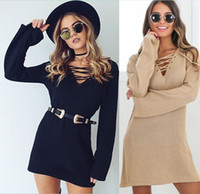 Wear to Work bell sweater - 2017 Elegant Women Lace up knitted sweater dress Women autumn casual flare sleeve soft loose short corn eyes dress deep v neck black dresses