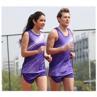 Wholesale new men running collections women girls tracksuits Athletics garment marathon suits field sport suit vest breathable