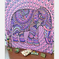 Wholesale Elephant Tapestry Colored Printed Decorative Mandala Tapestry Indian Boho Wall Carpet Throw Art floral Towel Beach Meditation Yoga X203cm