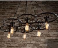 Wholesale Vintage Wheel Ceiling Pendant Lights Modern Light Fixtures LED Lamps Home Lighting Metal Industrial Edison E27 Holder Heads Lamp