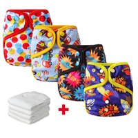 Wholesale 4pcs Happay Flute Reusable Pocket Diapers Baby Cloth Diaper Cover Waterproof Cloth Nappies With Microfiber Inserts