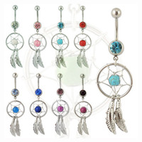 Wholesale Women Girls Fashion Navel Ring Dream Catcher Belly Button Nail Jewelry Medical Stainless Steel Rod Handmade