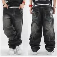baggy jeans - Mens Baggy Jeans Men Wide Leg Denim Pants Hip Hop New Fashion Embroidery Skateboarder Jeans