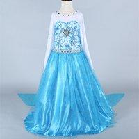 Wholesale princess new frozen elsa costume for children movie cosplay frozen dresses snow princess costume dress to the floor summer frozen elsa