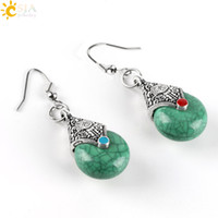 Silver antique copper chandelier - CSJA Women Ethnic Jewelry Dangle Earrings Antique Silver Plated Hook Orange Green Round Stone Beads Unique Water Drop Ear Hanging E436