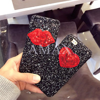 For Apple iPhone Plastic mix red heart and lips bling bake cover Phone Cases for iphone 6 6s plus 7 7plus