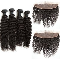 Wholesale Deep Curly Deep Wave Lace Frontal Closure With Bundles Unprocessed Human Hair Malaysian Virgin Hair Lace Frontals