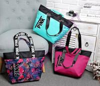 Wholesale Fashion Colors Women VS Love Pink Shoulder Bags Handbags Large Capacity Travel Duffle Striped Waterproof Beach Bag Shoulder Bag