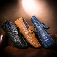 Wholesale Men s crocodile grain Doug shoes Leather dress shoes Fashion a pedal Driving shoes Men s leather shoes in winter