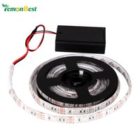 Wholesale Battery Led Strip Light Waterproof IP65 m m m SMD RGB Warm Cool LED Flexible Strip Tape String Lamp with Battery Box