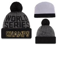 Bonnets de Chicago Cubs Champion 2016 Bonnets de Baseball de Série World avec Pompom Bonnet de Beanie de Haute Qualité Chapeaux d'Hiver Chapeaux de Crâne pour Adultes