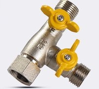 Wholesale Brass Shower bathroom double switch T Cock tee adapter with ways copper angle valve pipe connector water segregator tee joint TTC213