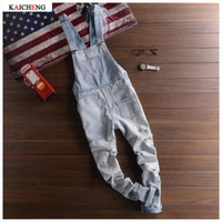 achat en gros de zipbib-New Fashion Ripped Mens Denim Bib Overalls Jeans 2017 Brand Men's Clothing Casual Distrressed Jumpsuit Jeans Pantalons pour Homme