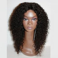 Wholesale Long kinky curly synthetic lace front wig heat resistant perruque synthetic women short wigs for black women middle part quot
