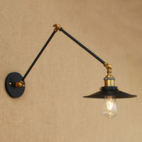Wholesale Retro Brass Craft Nordic American Country Style Adjustable Black Iron Umbrella Wall Lamp Bracket Luminaire