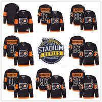 2017 Stadium Series Philadelphie Circulaires 9 Ivan Provorov Travis Konecny Giroux Wayne Simmonds Shayne Gostisbehere Jakub Voracek Maillots noirs