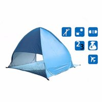 beach wind shelter - set Full Automatic Tent blue beach tent festival shelter childrens UPF sun screen wind break fishing garden quick open tent