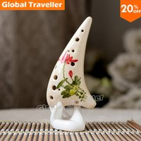 Wholesale Hand painted crack drawing flower with12 Hole Kiln fired Alto C Ceramic Ocarina with bag