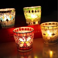 Wholesale Glass Candle Holders Party Decoration Handmade Fashion Mosaic Weddings Candle Holders For Home Bar Decoration colors
