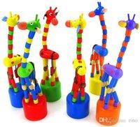 Acheter Girafe haute-Jouets éducatifs pour bébés Jouets éducatifs à la danse à la danse colorée en bois Jouets artisanaux en bois de 18cm Jouets Décoration intérieure