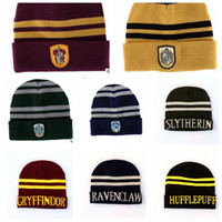Wholesale Harry Potter Beanie Gryffindor cap Slytherin beanies Ravenclaw Hufflepuff winter hat Wool Hats Knit Hat Cap KKA840