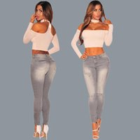 american supermodels - 2017 Foreign Trade Britain Supermodel Holes Suit dress Gray Jeans Goods In Stock Sale The new listing Hot