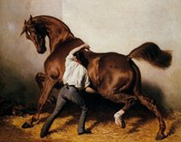 bay canvas - Framed Stable Lad Treat Sick Chestnut Bay Horse genuine Pure Handpainted Equestrian De Dreux Art oil Painting Canvas Multi sizes HS039