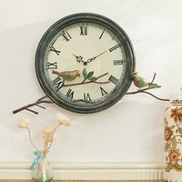 Wholesale American rural countryside wrought iron wall clock mute creative decorative bird living room bedroom wall