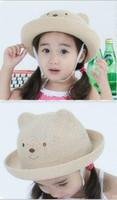 Precio de Sombrero de paja del sol-Sombreros del sombrero del sol del sol del verano y sombrero de paja del niño de las muchachas Sombreros del oso del oso del casquillo del lavabo de la cortina del sombrero