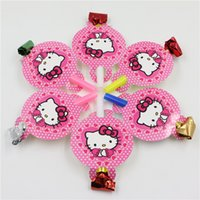 Cheap Wholesale-12pcs cute hello kitty cartoon 1st birthday decoration party supplies whistle blow out for kids girls party Del Partido Blow out