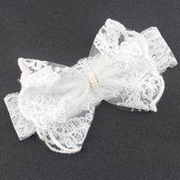 Baby Headbands Niñas Cabello Arcos Accesorios Niño Blanco Moda Encaje Rhinestone para Niños Hairbands Sweet Princess Nuevo