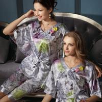 Wholesale Top Promotion Summer Women Pyjamas Set Plus Size Ladies Nightwear For Bath Robe Short Pants set Sleep Longue
