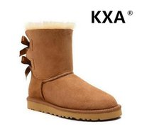 Wholesale KXA High Quality Genuine Cowhide Leather Women Snow Boots Warm Bowknot Boots Ribbon Bailey Bow Winter Snow Boots Size