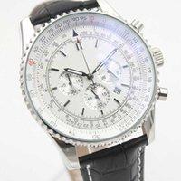 achat en gros de saphir suisse quartz-Vente en gros Montres suisses de luxe Chronometre Quartz Chronograph Montre Mens Cassic Montre Bracelet en cuir blanc cadran saphir