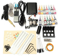 1 Gun beauty equipment supply - 1 Set V Complete Equipment Tattoo Machine Gun Color Inks Power Supply Cord Kit Body Beauty DIY Tools