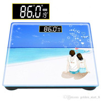 Wholesale 180kg Cartoon Pattern glass Precision Electronic Scale Glass Electronic Weight bathroom scales Body Balance weighing scale