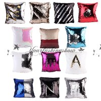 Wholesale 15 Style Sequins Pillow Cushion Cover Pillowslip Sofa Pillow Case Iridescent Glow pillow Cover double color Pillow Covers cm M546
