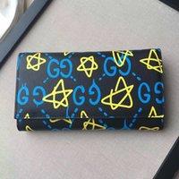 achat en gros de à double bourse de portefeuille-Nouveau luxe double G Ghost GG étoiles portefeuille long cartes de package Coin Purse cuir véritable avec logo pour l'homme ou les femmes chrismas cadeau.