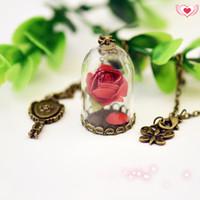 al por mayor inspirar encantos-Belleza y La Bestia Enchanted Rose Inspirado Colgante Belle Collar Colgante de Cristal de Rose Rosa