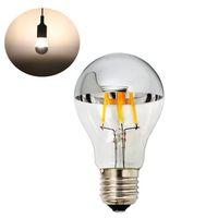 Wholesale Led Light Bulbs W A60 Led Bulb with Mirror E27 Medium Base Half Chrome Siliver A Shape Bulb Energy Saving Warm White k Non Dimmable