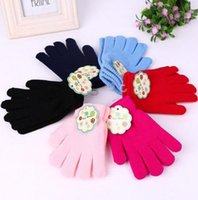 Wholesale Christmas High Quality Kids Solid Color Knitted Finger Gloves Candy Colors Children Kid Knitted Gloves Full Finger Stretch Mittens