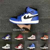 Los hombres del salto del aire retro 1 OG alto prohibieron los zapatos de baloncesto para hombre negros rojos reales reales rojos de las zapatillas de deporte de las mujeres de las zapatillas de deporte Las mujeres se divierten los zapatos 1s retro dan Eur 36-47