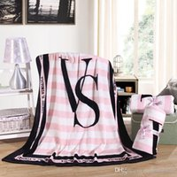 Wholesale New Coral Fleece Blanket Printed Victoria Classic Love Pink Secret Keep Body Warm living room Bed Throw Blanket cm cm