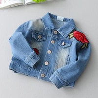 baby maternity clothes - 8 Styles Kids Girls Rose Denim Jackets New Spring Girls Floral Embroidery Coats Baby Full Sleeve Outwear Children Clothing Maternity