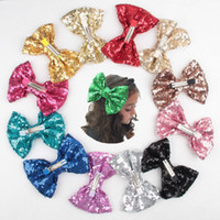 Wholesale Children Hair Accessories Sequin Big Bow Barrettes Baby Hand Sewn Hair Slides Gir Children Hairclips