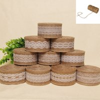 Wholesale Hessian Burlap Ribbon With White Lace for Wedding Event Party Gift Wrapping Decoration
