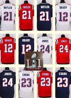 Wholesale 2017 Super Bowl New England Men s Malcolm Butler Tom Brady Patrick Chung Jonathan Jones Red White Blue Top Quality Drop Shipping