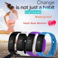 Le plus récent V66 Smart Wristband Heart Rate Monitor Bluetooth 4.0 Sport Podomètre IP68 Bracelet de montre étanche à l'eau pour Android IOS